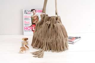 Fringe Tassel Shoulder Bag Womens Handbags Messenger Bag Brown