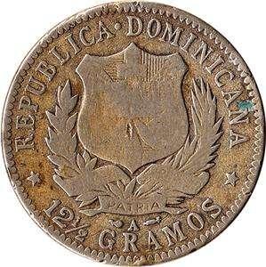 1897 Dominican Republic 1/2 Peso Large Silver Coin KM#15