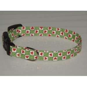 Green White Red Gingham Checkered Checker Check Hearts Polka Dots Dog