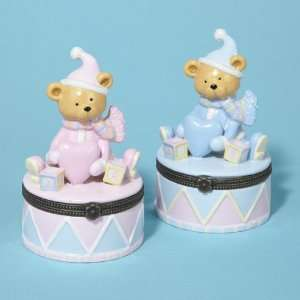 Ceramic Baby Teddy Bear Girl and Boy Hinged Boxes 4