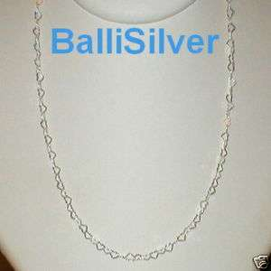 Sterling Silver 925 Flat HEART Shape Chain NECKLACE 18