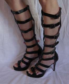 Faux Leather Multi Strap Knee High Sandal with 1 Inch Platform