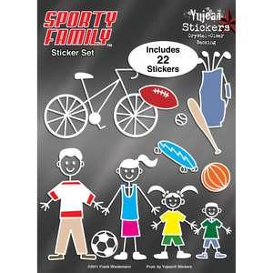 Yujean Stickers Sporty Family Sticker Set, 22pc Decor