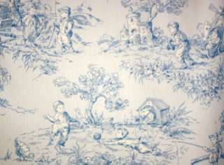 Lined Valance Curtain Baby Boy Blue Toile