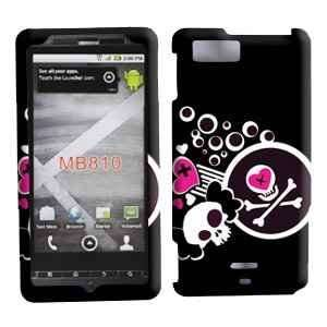 Black with Pink Skull Heart Design Rubberized Snap on Hard