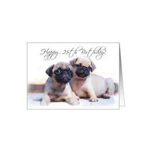 Happy 25th Birthday, Pug Puppies Card: Toys & Games