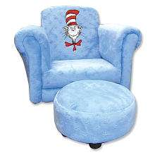 Trend Lab Cat in the Hat Royal Blue Velour Toddler Chair with Ottoman