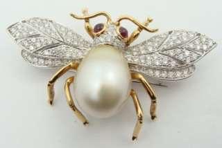 Estate Ladies 18K Gold Diamond Pearl Bee Pin