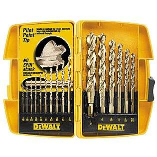 16 Piece Pilot Point Drill Bit Set  DeWalt Tools Power Tool