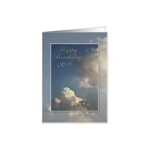 Happy Birthday Son, Blue Sky with Clouds Card: Toys
