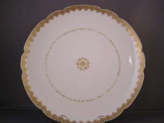 ANTIQUE HAVILAND LIMOGES GOLD LACE/FILIGREE PLATE