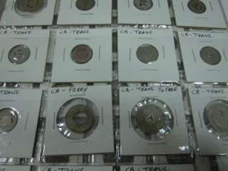 LOT OF 109 PUBLIC TRANSPORTATION TOKENS IN COIN GUARDS IN A THREE RING
