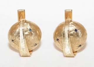 estate 14k solid gold 12ct sapphire mushroom cufflinks photo s
