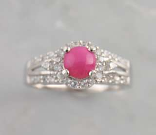 Sterling Silver Pink Star Sapphire CZ Brilliant Ring