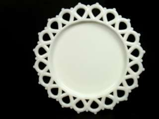 White Milk Glass Reticulated Heart Shape Border Edge Dish Plate   FREE