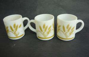 Vintage MILK GLASS WHEAT COFFEE MUGS HAZEL ATLAS CUP