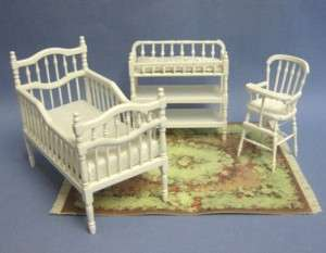 Dollhouse Miniature White Victorian Nursery Furniture