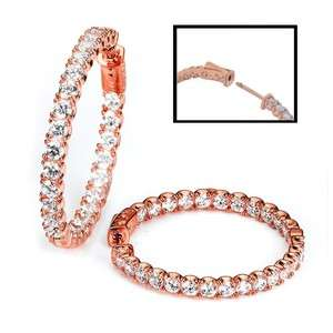 NEW .925 SILVER 14K ROSE GOLD PLATED CZ HOOP EARRINGS