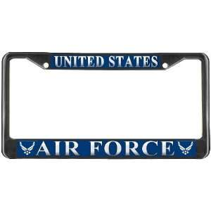 Air Force USAF Blue Black Metal License Plate Frame Holder: Automotive