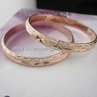 2Pcs 18k Rose Gold Filled Women Carved Bracelet Lady Bangle 60mm GF