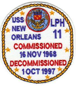 US NAVY SHIP PATCH, USS NEW ORLEANS, LPH 11 Y