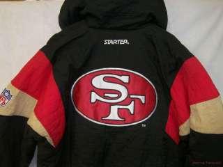 Awesome VINTAGE NFL STARTER Black SAN FRANCISCO 49ERS Jacket Coat Sz M