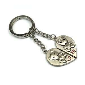 Pair of Cute Bears Man & Woman Lover Couple Keyring