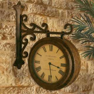 FRENCH TRAIN STATION Old World 2 SIDED Roman Numeral WALL CLOCK
