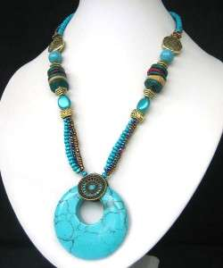 TIBET HANDMADE COPPER TURQUOISE CRYSTAL NECKLACE