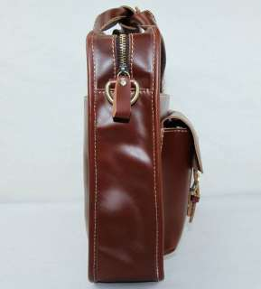 Cowhide Leather Case Briefcase Messenger Laptop Bag Brown 13