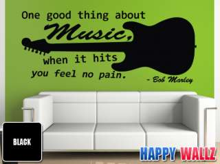 BOB MARLEY FAMOUS MUSIC QUOTE WALL ART VINYL STICKER DECAL ONE GOOD