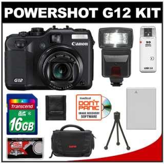 Canon PowerShot G12 Digital Camera + 16GB + Flash Kit 013803126815