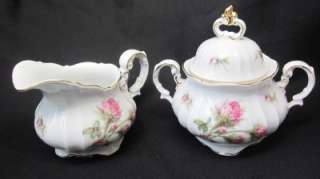 Porzellan Bavaria Germany vintage MOSS ROSE Cream & Sugar Bowl 3pc