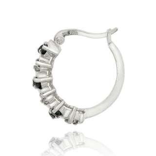 925 Silver 1.08ct Sapphire & Diamond Hoop Earrings