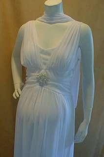 New Long Formal White Roman Pin Maternity Dress XXL Bridal Wedding