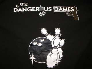 Retro Bowling shirt Black/PINK DANGEROUS DAMES HOT S 3X