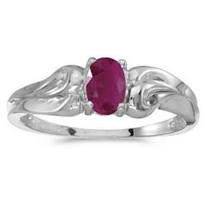 10k White Gold July Birthstone Oval Ruby Ring Jewelry