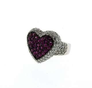 CUTE 18k White Gold, Diamond & Ruby Heart Lady Ring