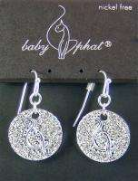 Silver Tone BABY PHAT Crystal Disk Logo Drop EARRINGS