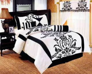 Queen Full Bedding Black / White Flock Satin Comforter Set FAUX SILK
