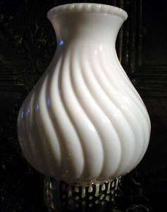 SALE Vintage Swirl Milk Glass Lamp Light Shade Chimney