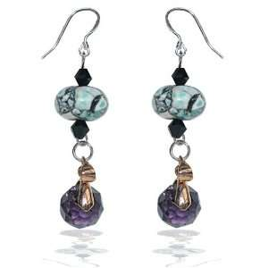 Combination Bead Earrings(Black, Blue, Purple and Gold Plate Accent