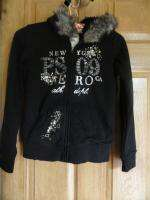 Aeropostale Girls Faux Fur Lined Hoodie with Jeweled Front BNWT S M