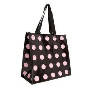 Insta Totes Reusable Black w/Pink Dots Shopping Tote