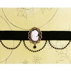 Victorian Cameo Antique Vintage Gothic Black choker