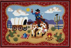 Cowboy Horse Country Western Riding Kids Nylon Area Rug