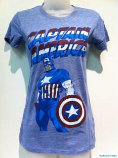 New Licensed Marvel Comics Captain America Pose Logo Women Junior