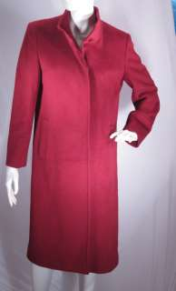 Dark Cranberry Red Italy Wool Cashmere Angora Coat Sz 44 US 8