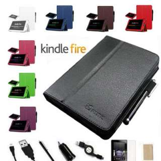 Fire Folio Leather Case/Screen Protector/Car Charger/USB Cable/Stylus