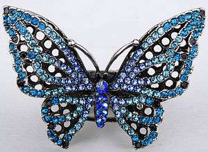 Blue swarovski crystal butterfly stretch ring jewelry